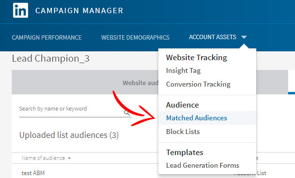 Account Based Marketing Linkedin matched audience